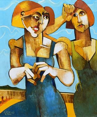 "Lot 33-Geoffrey Key (British 1941-), ""Hot Summers Day"", oil."