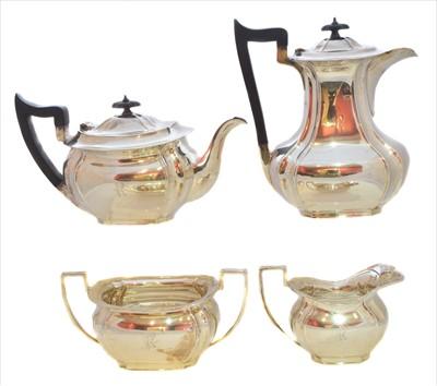 Lot 44-A George V silver four piece tea set