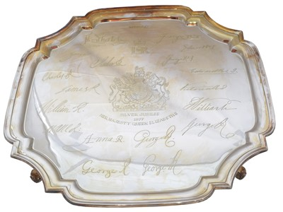 Lot 46-A cased silver jubilee commemorative salver, limited edition, no. 27/250