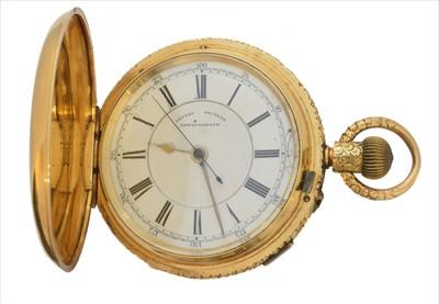Lot 388-A Victorian 18ct gold full hunter pocket watch by John Hawley & Son Ltd.