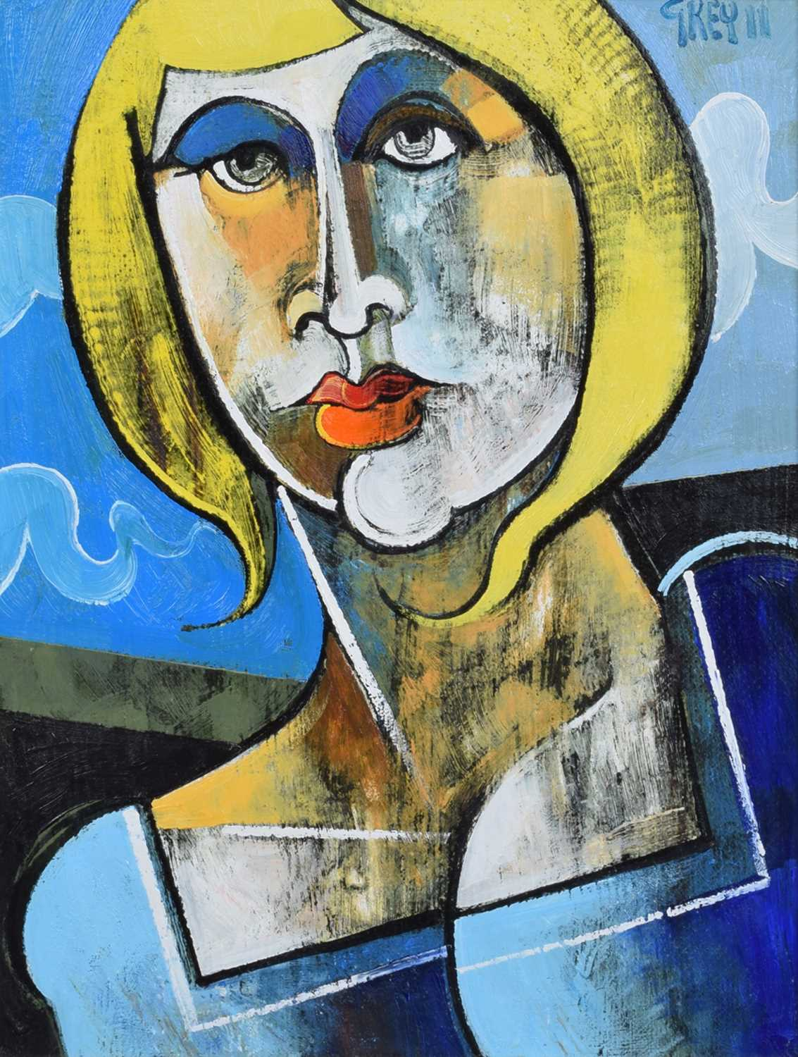 "Lot 36-Geoffrey Key (British 1941-), ""Girl with Yellow Hair"", oil."