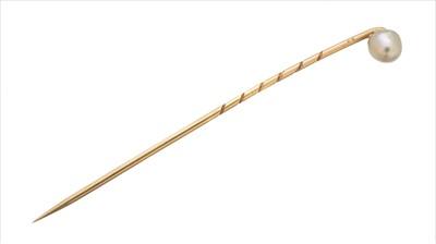 Lot 37-A natural saltwater pearl stickpin