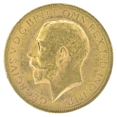 Lot 81-George V, Sovereign, 1927, Pretoria Mint and two other cupro-nickel crowns (3).