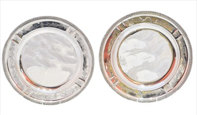 Lot 47-A pair of silver chargers