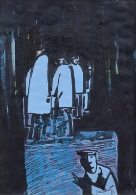 "Lot 94 - John Thompson (British 1924-2011), ""Five Figures"", mixed media."