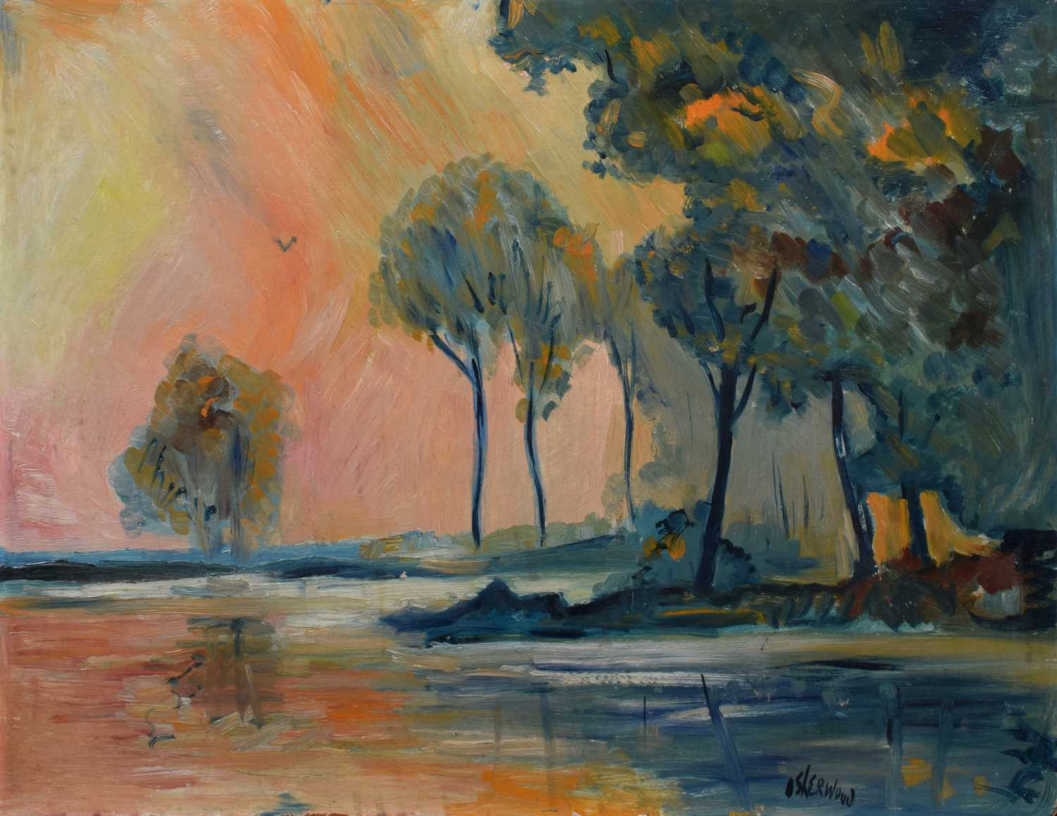 Lot 50-James Lawrence Isherwood (British 1917-1989), Wooded lake scene at sunset, oil.