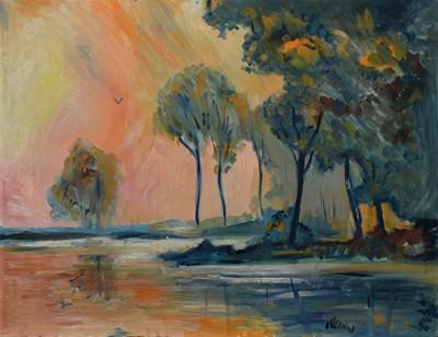 Lot 50 - James Lawrence Isherwood (British 1917-1989), Wooded lake scene at sunset, oil.