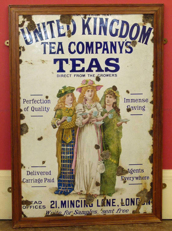 Lot 53 - Enamelled sign United Kingdom Tea Company's Teas, 92cm x 61cm.