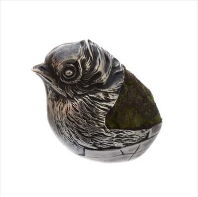 Lot 57-An Edwardian silver novelty pin cushion