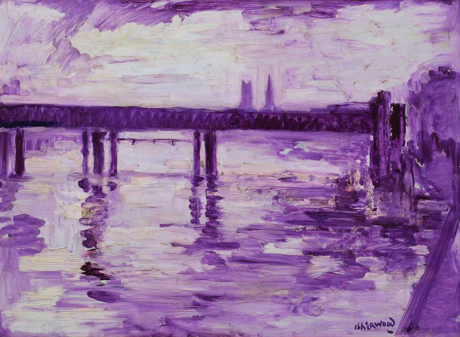 "Lot 5-J. L. Isherwood, ""Pier, Charing Cross"", oil."