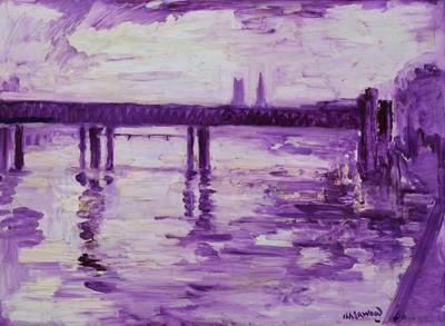 """Lot 5 - J. L. Isherwood, """"Pier, Charing Cross"""", oil."""