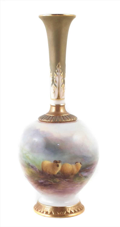 161 - Royal Worcester vase signed H. Davis,