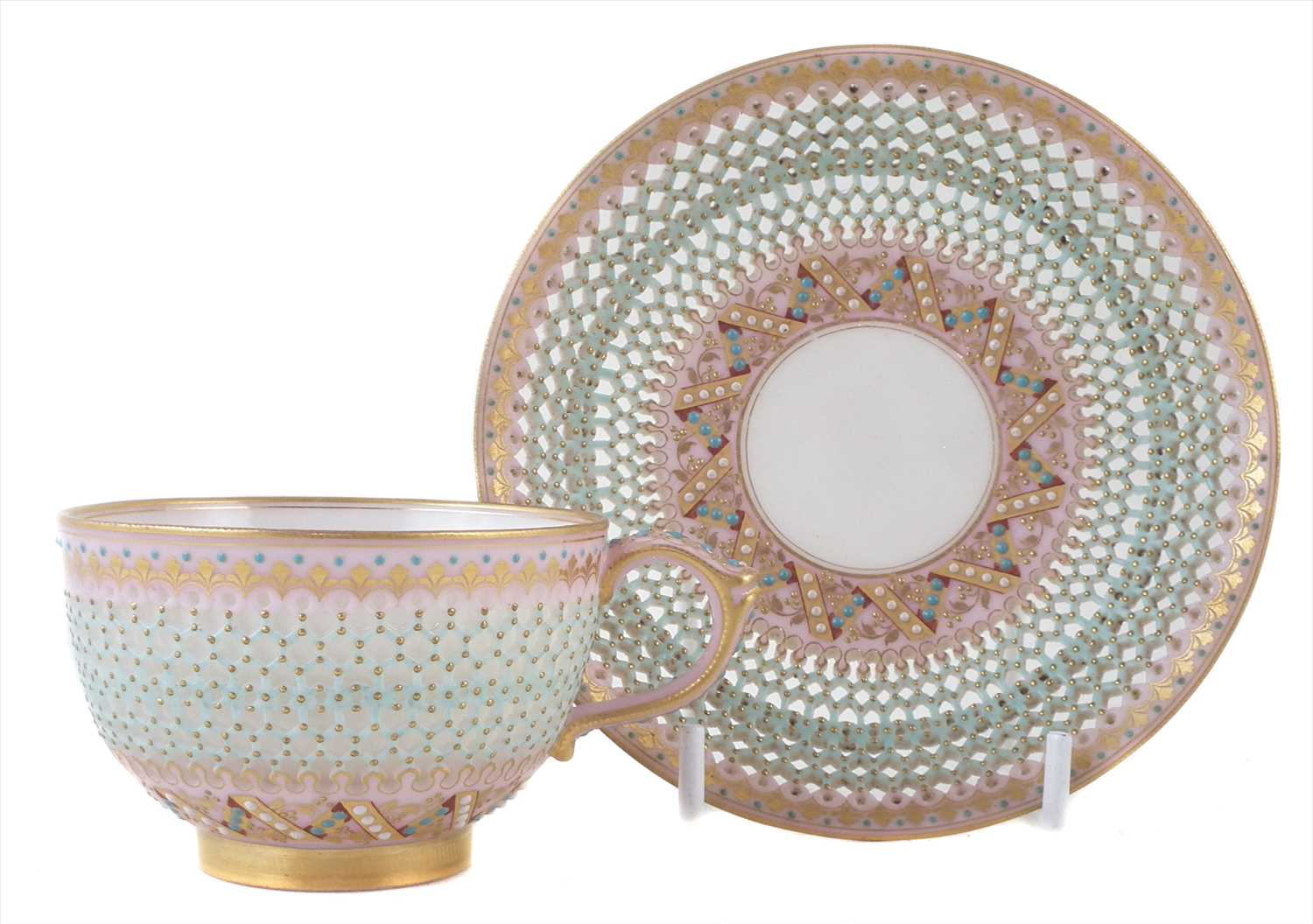 162 - Royal Worcester reticulated cup and saucer by George Owen,