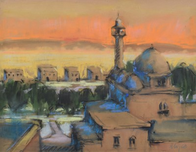 Lot 60 - Harold Riley, Middle Eastern scene, watercolour and pastel.