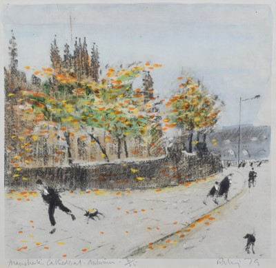 """Lot 110 - Harold Riley, """"Manchester Cathedral - Autumn"""", signed print."""