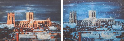 """Lot 111 - After Harold Riley, """"York Minster through the Seasons"""", two large signed prints on fabric (2)."""
