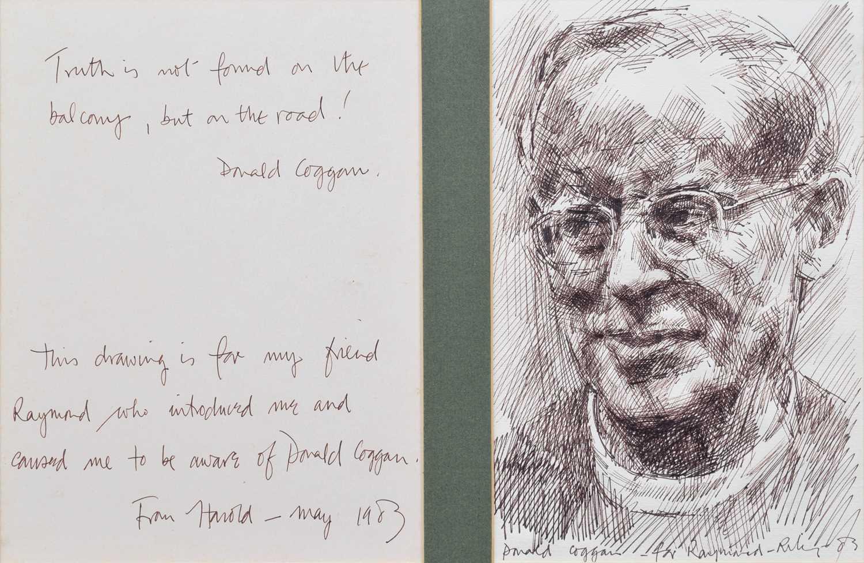 Lot 9-Harold Riley, Portrait of Donald Coggan, ink.