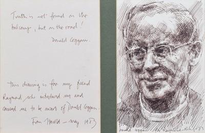 Lot 9 - Harold Riley, Portrait of Donald Coggan, ink.