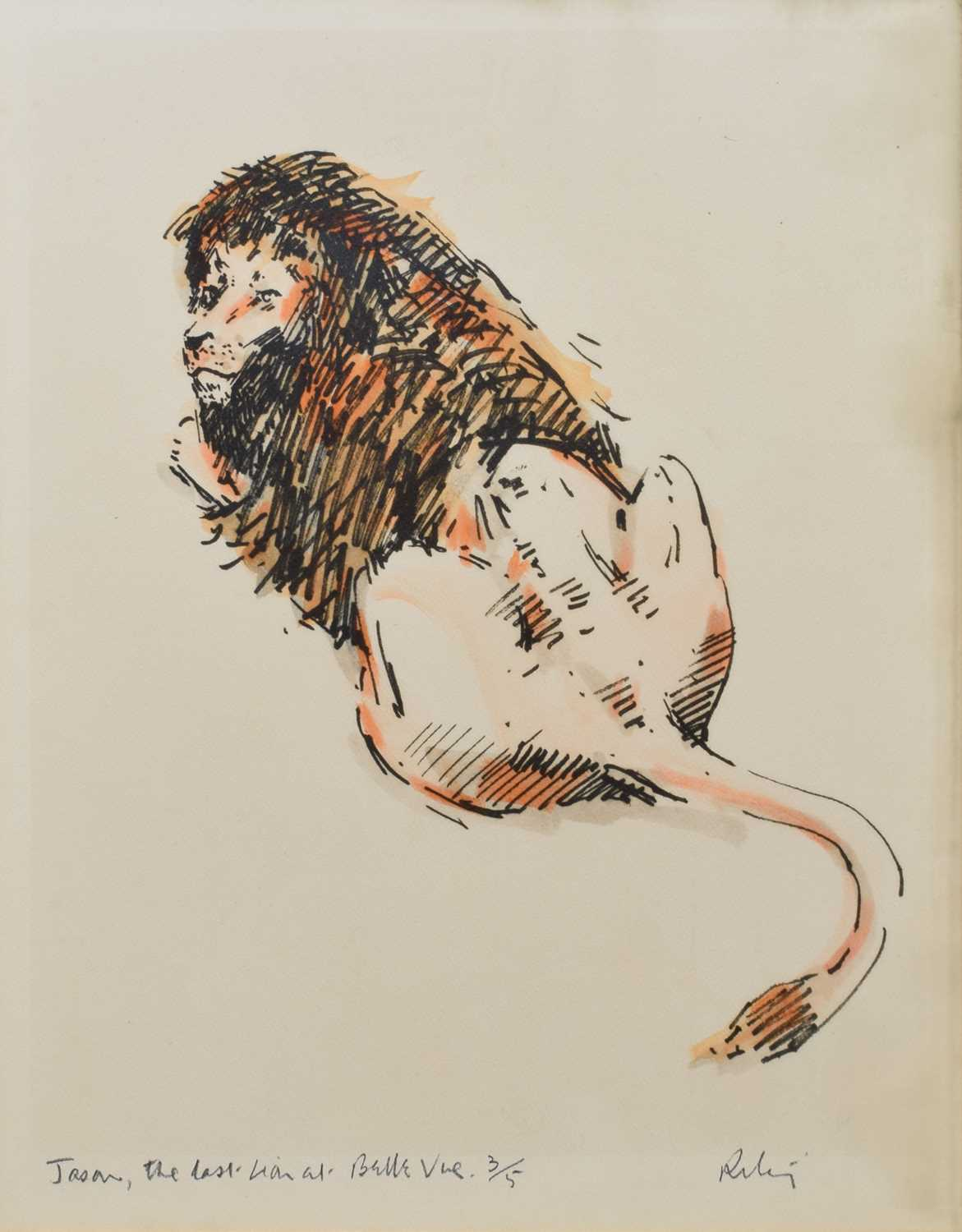 "Lot 10-After Harold Riley, ""Jason, the Last Lion at Belle Vue"", signed print."
