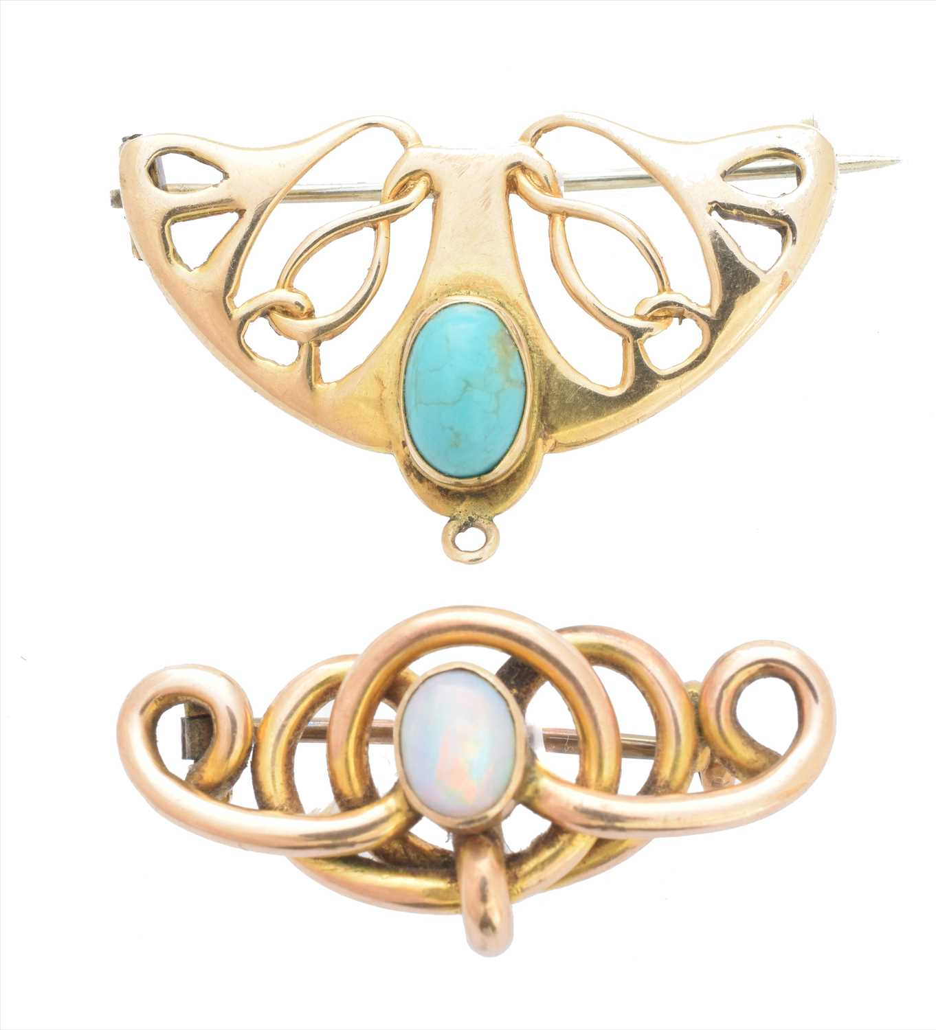 Lot 66-Two early 20th century gem set brooches
