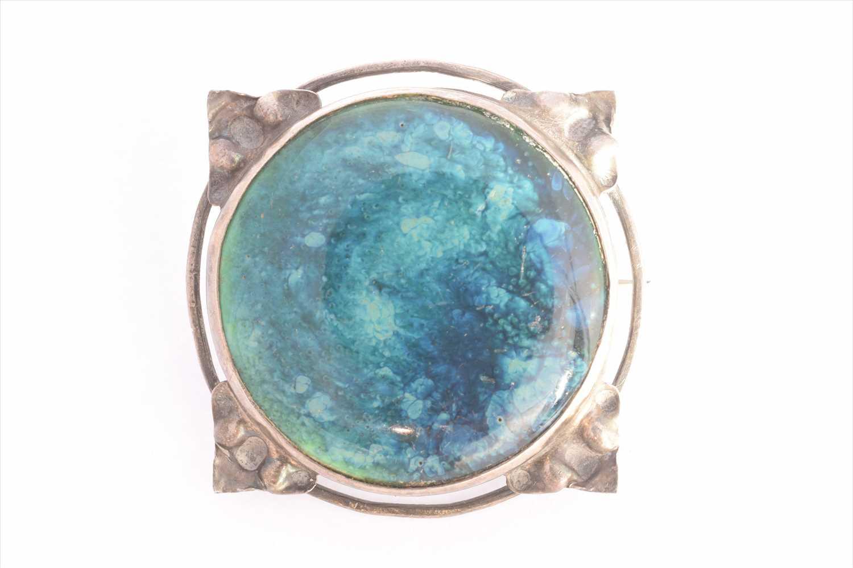 Lot 15-An Arts & Crafts enamel brooch