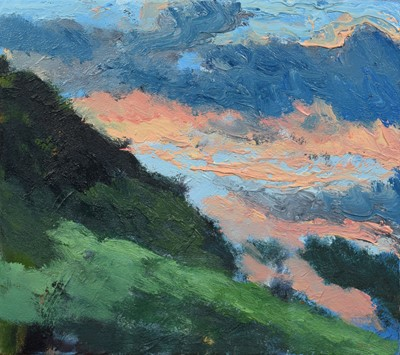 """Lot 11 - Mike Knowles, """"Hillside, Winter Evening IV"""", oil."""
