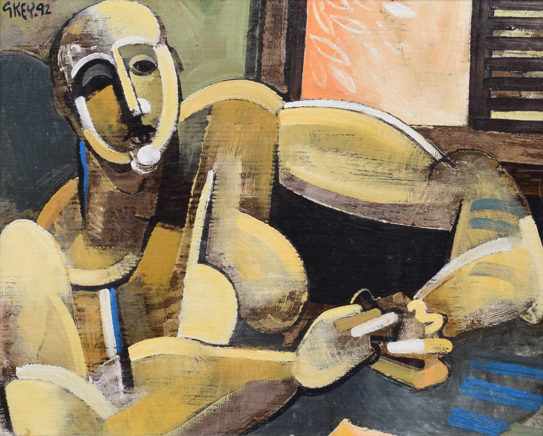 """Lot 16-Geoffrey Key, """"Shuttered Window"""", oil."""