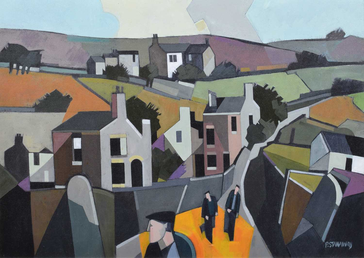 "Lot 17-Peter Stanaway, ""Castleshaw Valley"", oil."