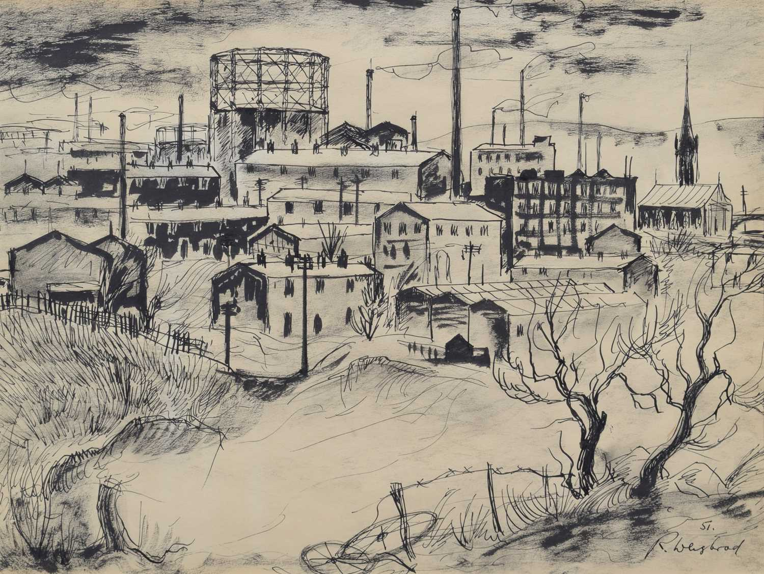 Lot 18-R. Weisbrod, Northern industrial scene, mixed media drawing.