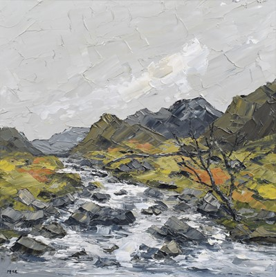 """Lot 62 - Martin Llewellyn, """"River and Mountains, North Wales"""", oil."""