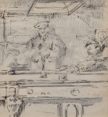 Lot 20 - Harry Rutherford, Snooker in the Officers' Mess, ink.