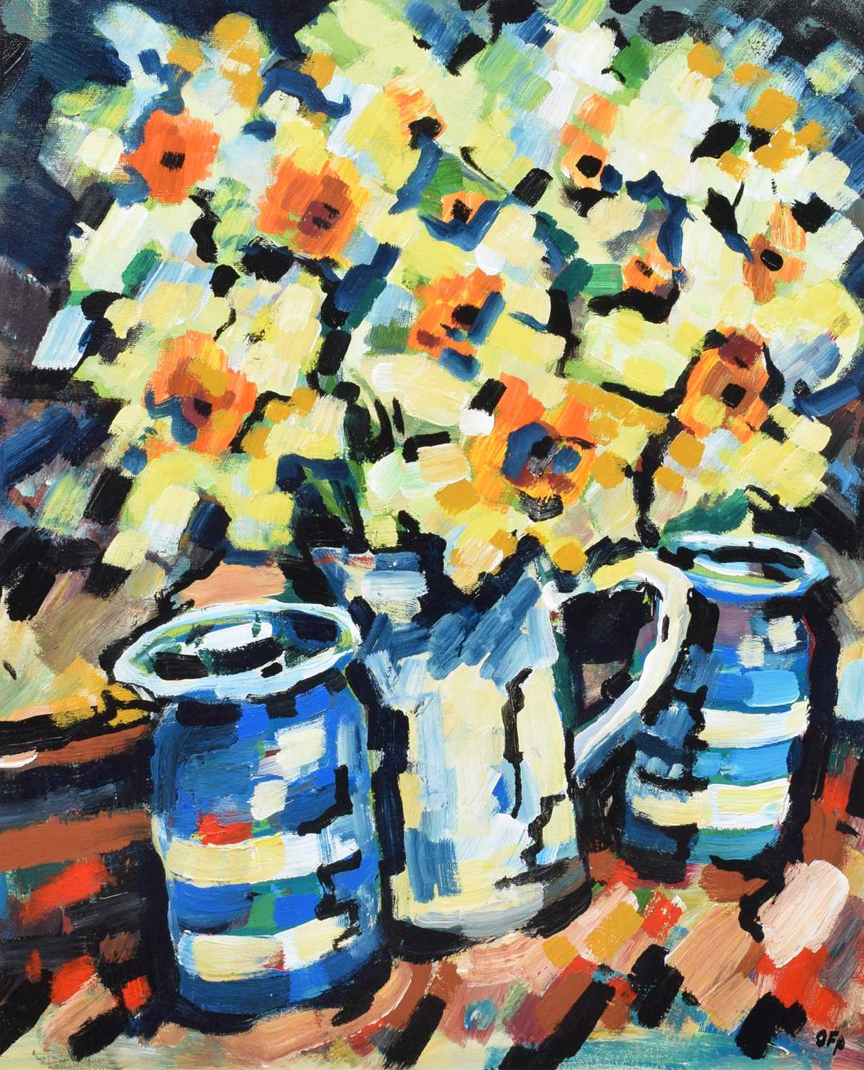 "Lot 22-Olivia Pilling, ""Daffodils and Blue Pots"", acrylic."