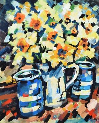 "Lot 22 - Olivia Pilling, ""Daffodils and Blue Pots"", acrylic."