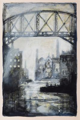 Lot 23-David Bez, Industrial canal scene with iron bridge, acrylic.