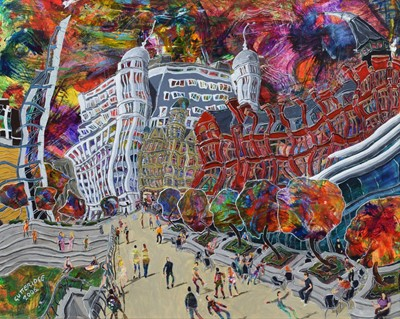 """Lot 86 - Michael Gutteridge, """"Great Northern Square, Manchester"""", acrylic on board."""