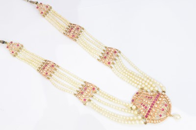 Lot 94-A natural pearl and ruby necklace