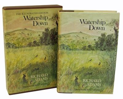 Lot 39-Richard Adams, Watership Down reprint 1980, dust cover and box slip.