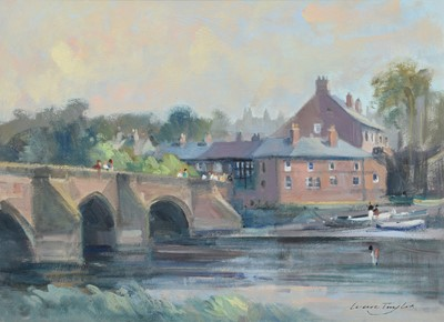 "Lot 27 - Ivan Taylor, ""Chester Bridge"", oil."