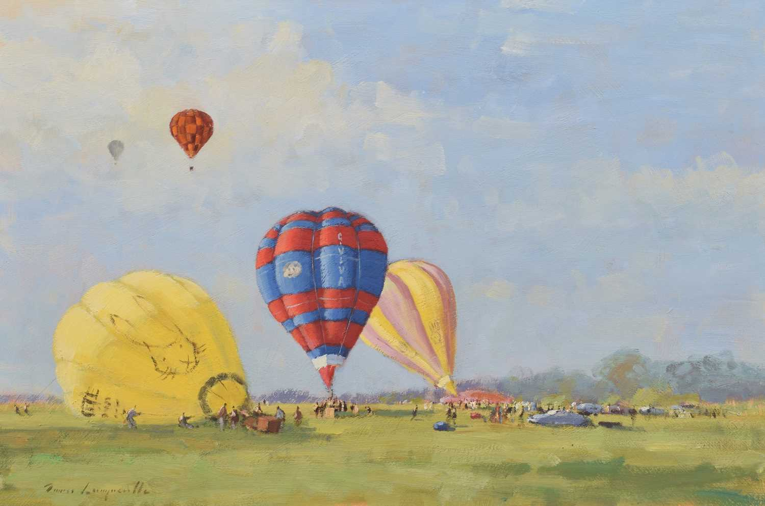"Lot 2 - James Longueville, ""Hot Air Balloons at Cholmondeley Castle"", oil."