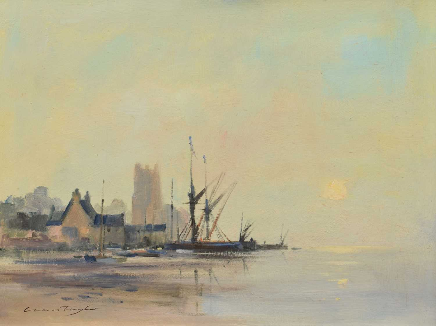 "Lot 28-Ivan Taylor, ""Morning Mist near Orford, Suffolk"", oil."