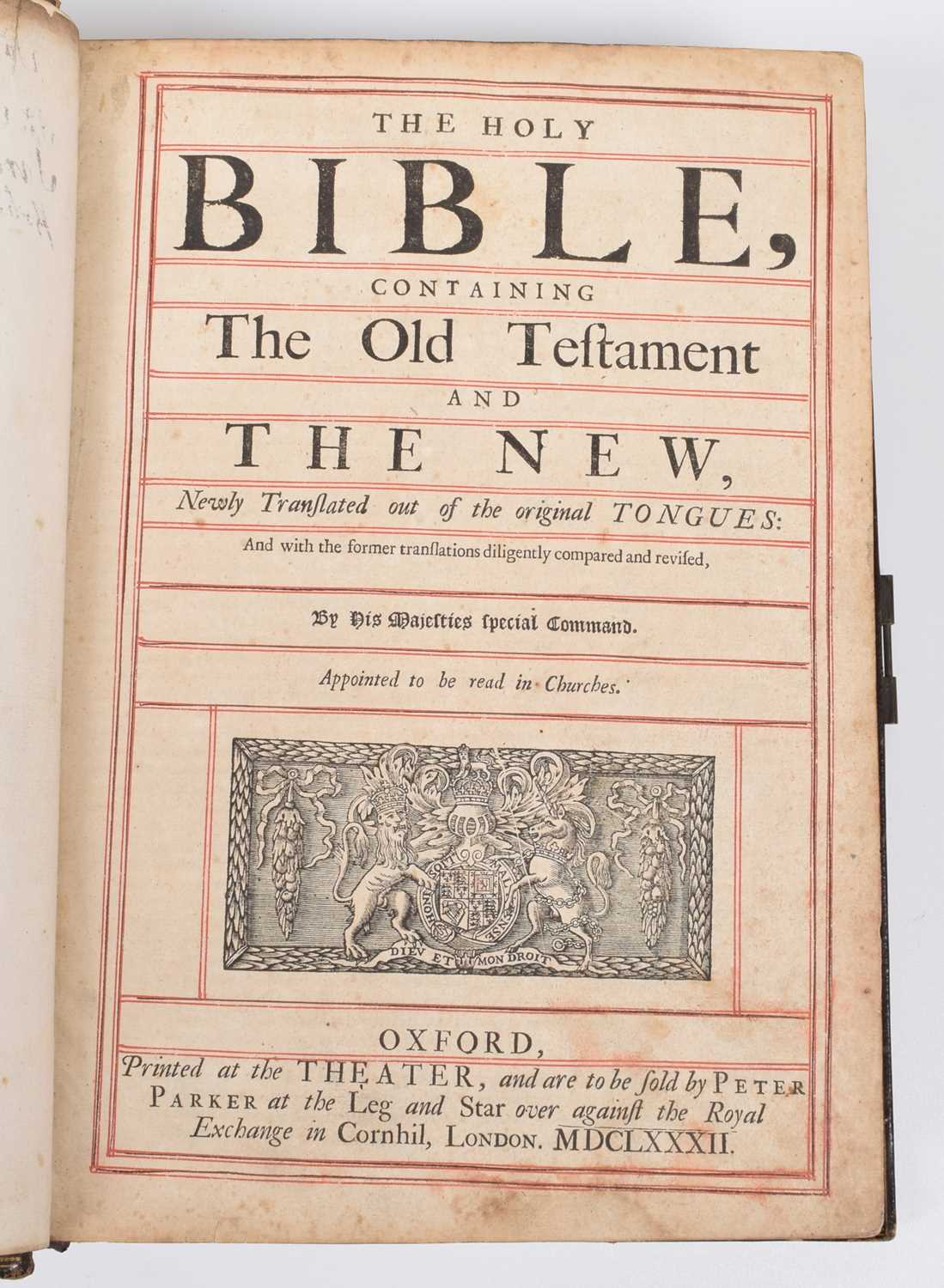 Lot 36-Holy Bible, King James Authorized Version, printed at the Theater, sold by Peter Parker, 1682.