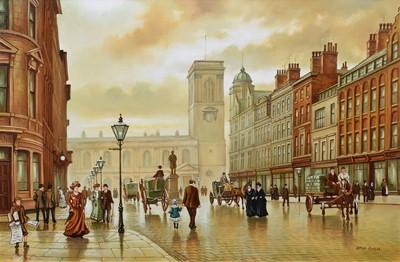 """Lot 30 - Steven Scholes, """"St. Ann's Square, Manchester"""", oil."""
