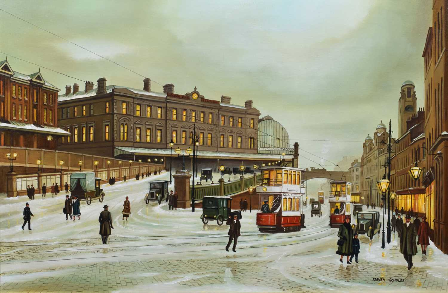 "Lot 31 - Steven Scholes, ""Manchester Piccadilly Station"", oil."