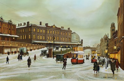 """Lot 31 - Steven Scholes, """"Manchester Piccadilly Station"""", oil."""