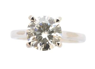 Lot 263-A platinum diamond single stone ring