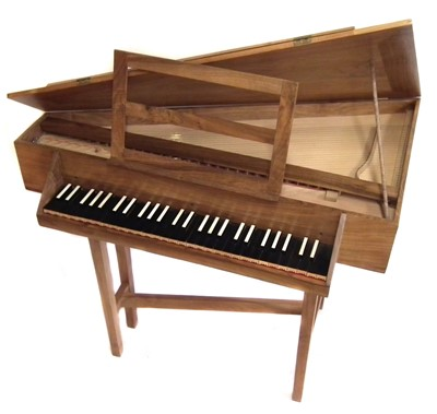Lot 21-Triangular spinet by John Storr built from a kit, walnut  case with ebony and ivory faced keys 115cm long with tuning key and spare parts
