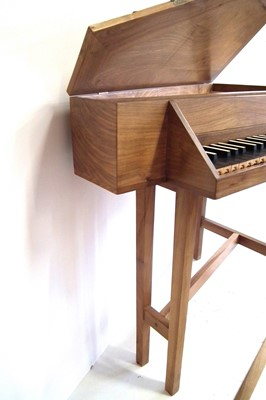 Lot 22 - Triangular spinet by John Storr built from a kit, walnut  case with ebony and ivory faced keys 115cm long with tuning key and spare parts