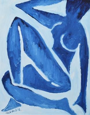 """Lot 55 - J.L. Isherwood, """"Blue Nude"""", oil."""