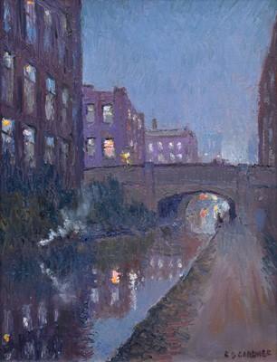 "Lot 56 - Reg Gardner, ""Beswick Street Bridge, Ashton Canal"", oil."
