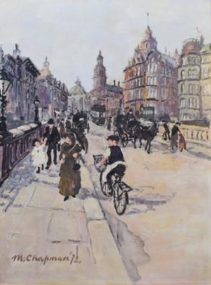 Lot 58 - Margaret Chapman (British 1940-2000), Manchester street scene, oil.